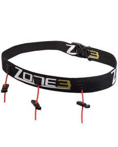 ZONE3 Ultimate Race Number Belt With Energy Gel Storage Black josta #1