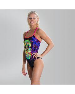 SPEEDO Women's Psychedelic Fusion Double Crossback Swimsuit